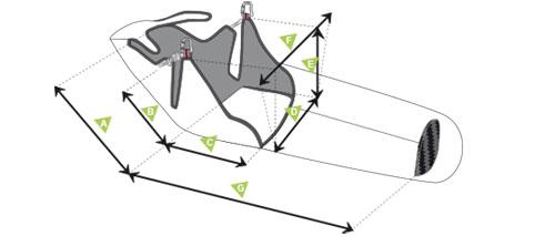 Sellette Supair Strike - schéma mesures
